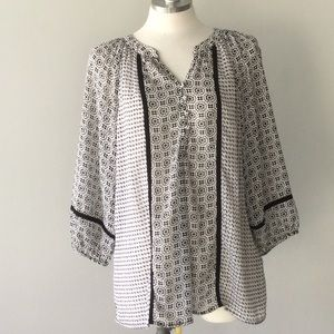Milano Black & White Sheer Tunic Size Medium